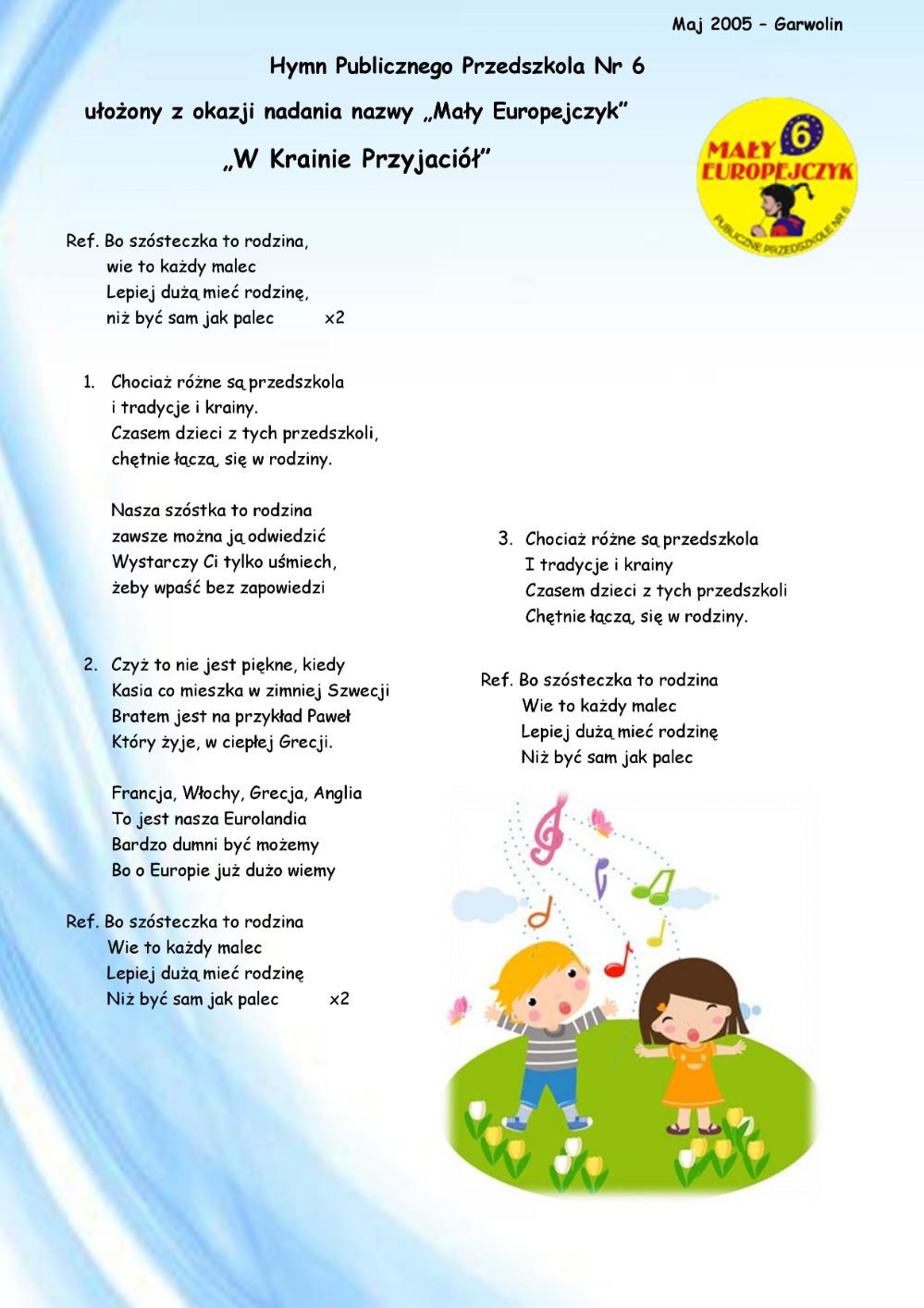 Hymn przedszkola Mały Europejczyk