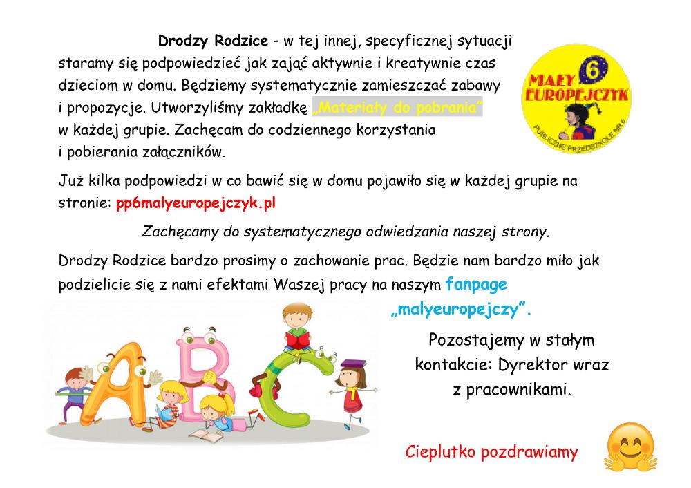 Informacja dla Rodziców o propozycji zaba dla dzieci