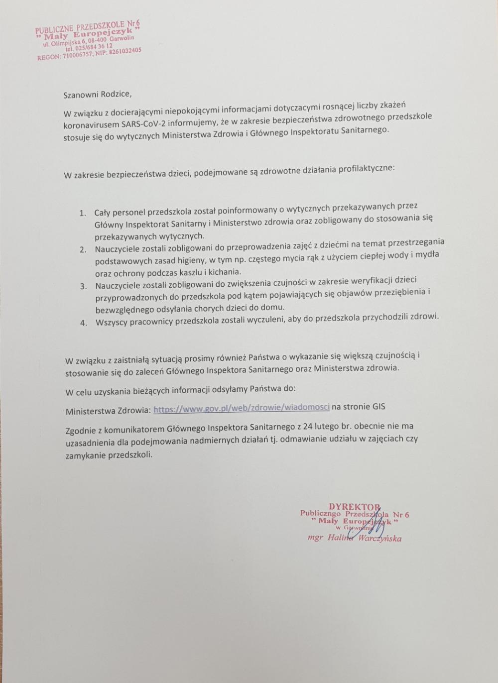Informacja w zakresie bezpieczeństwa dotyczącego działań profilaktycznych koronawirusa w PP6 dla rodziców 10.03.2020