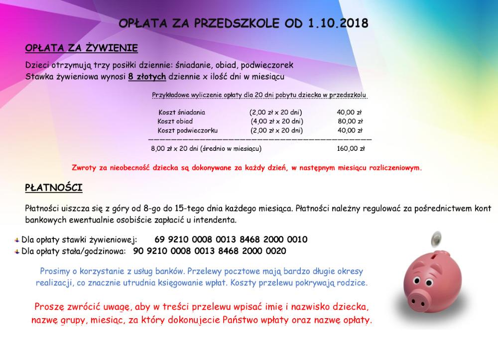 Opłata za przedszkole od 1.10.2018r.