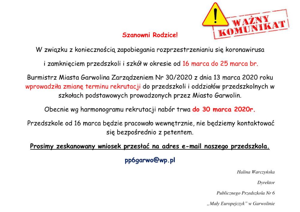 Zmiana terminu rekrutacji 14.03.2020r. PP6 - JJ
