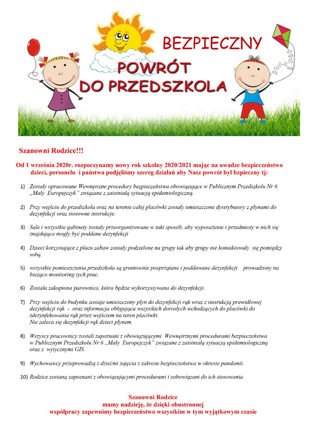 Informacja dla rodziców - Bezpieczny powrót do przedszkola