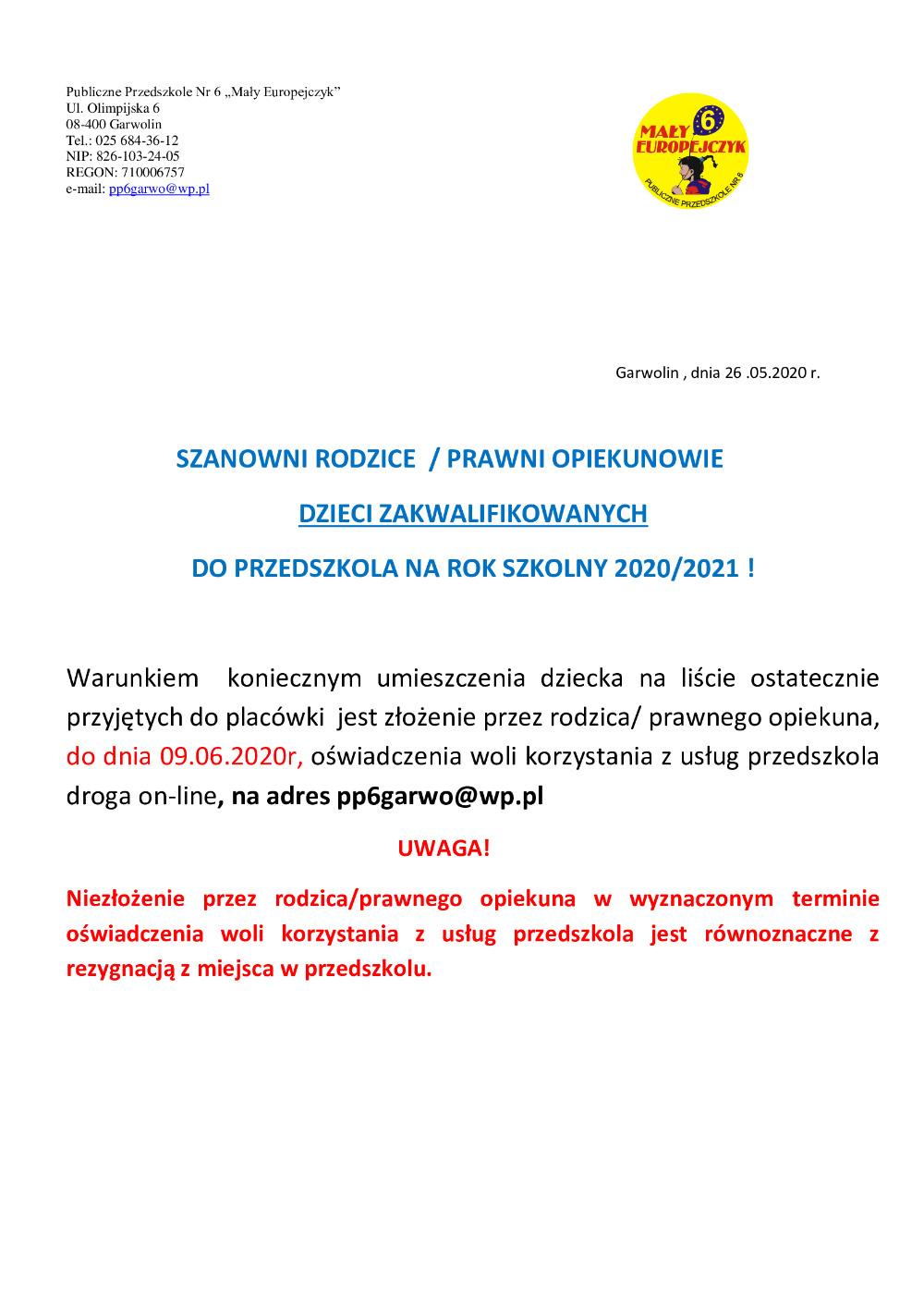 Rekrutacja uzupełniająca - Informacja