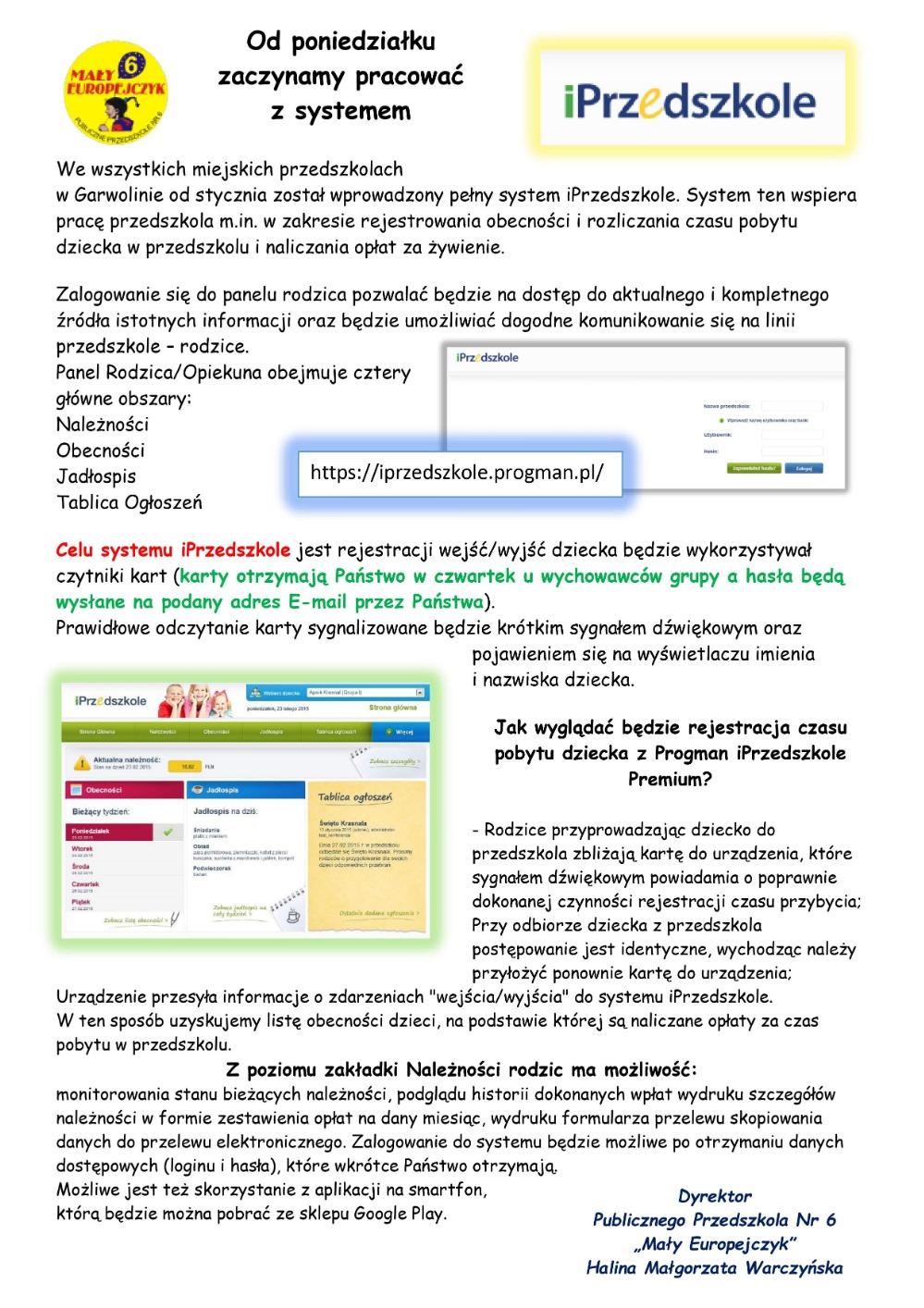 Opis systemu iPrzedszkole - 25.01.2020r.