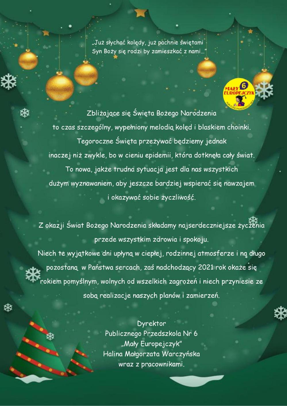 Życzenia bożonarodzeniowe z PP6 - 23.12.2020r.