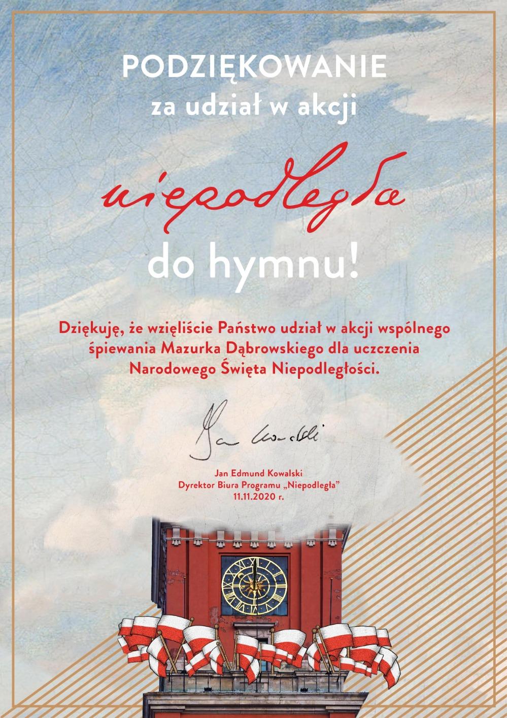 11. Dyplom - podziękwanie -  niepodległa do hymnu - 11.11.2020r.