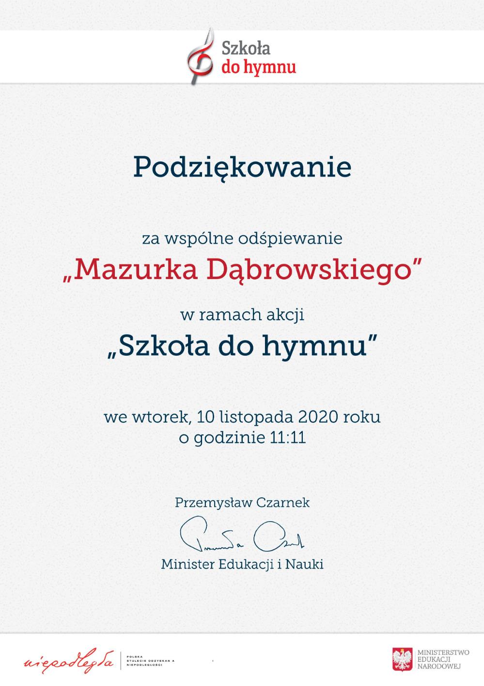 11. Dyplom - podziękwanie -  szkoła do hymnu 2020r.